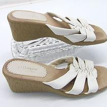 Villager Liz Claiborne Secret Womens White Strappy Wedge Shoe Sandal 6.5m Y5 Photo