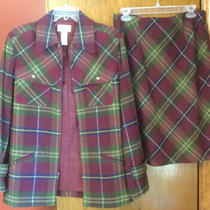 Villager Liz Claiborne Women Size 8 2pc Set Jacket & Skirt Burgundy Plaid Photo