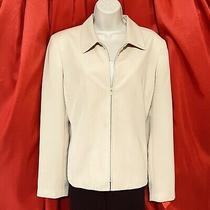 Villager  Liz Claiborne .. Zipper Front Lined Blazer Jacket .. Beige .. Size 14 Photo