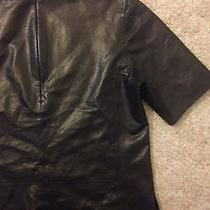 Vince 100% Lamb Leather Blouse. Photo
