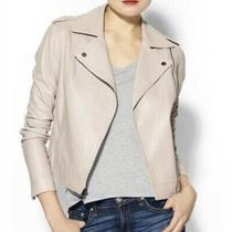 Vince Blush Nude Leather Moto Biker Jacket Size Xs Photo