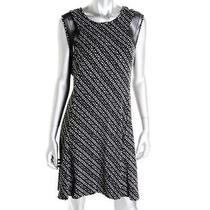 Vince Camuto 119 Black & White Jersey Mesh Cap Sleeve Cocktail Dress Sz L Nwt Photo