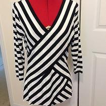 Vince Camuto 3/4 Sleeve Stripe Wrap Top - Size M - New Minor Defect/repaired Photo