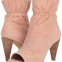 Vince Camuto Addiena Rosey Blush Suede Peep-Toe Ruched Ankle Boots - 6 Medium Photo