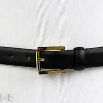 Vince Camuto Belt Smooth W/metal Inlay Size M  Black  Style 185502  Nwt 36 Photo