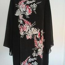 Vince Camuto Black Ivory Red Pink Floral Shift Dress Long Sleeves Knee - 8 10 12 Photo