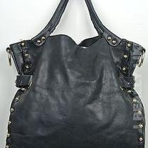 Vince Camuto Black Large Leather Bolts Tote Shoulder Bag Photo