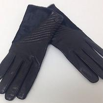 Vince Camuto Black Leather/calf Hair Winter Gloves Sz L Msrp 168 Photo