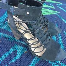 Vince Camuto Black Leather Elastic Buckle Open Toe Heel Eliaz Sandal Sz 8.5 125 Photo