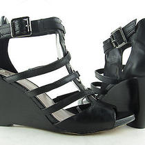 Vince Camuto Black Leather Huni Wedge Sandals Sz 7.5m Rtl 109 Photo