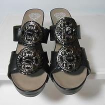 Vince Camuto  Black Leather Sandal Slides With 3 3/4