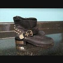 Vince Camuto Black Leather With Gold Embellishment Size 6.5 Windetta Boot Photo