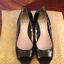 Vince Camuto Black Patent Leather Peep Toe Wedge Pumps - Size 7.5m Photo