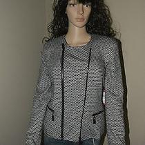Vince Camuto Black Polka Dot Long Sleeves Lined Coat 6 Jacket 189 Photo