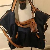 Vince Camuto Blue Cris Nylon & Leather Women Bag Hobo Purse Handles Shouldernew Photo