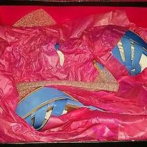 Vince Camuto Blue Heal Shoes Leather Med 1 3/4 in to 2 3/4 In. Open Toe  Photo