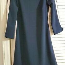 Vince Camuto Boat Neck Sheath Dress 4 Navy Blue W/blush Pink Accent Side Seams Photo