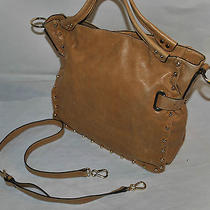 Vince Camuto Bolts Genuine Tan Leather Tote Pre-Owned Photo