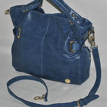 Vince Camuto Bolts Tote Genuine Blue Leather Pre-Owned Photo