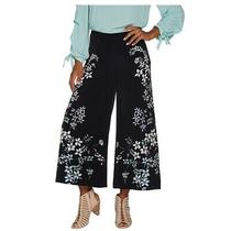 Vince Camuto Botanical Floral Print Wide Leg Crop Pants Rich Blk Reg 00 A306714 Photo