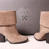Vince Camuto 'Brass' Taupe Suede Leather Fold-Over Ankle Boots Booties Sz 8.5 Photo