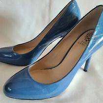Vince Camuto Caelyn Periwinkle Blue Silver & Blue Stripes Patent Leather Pumps 8 Photo