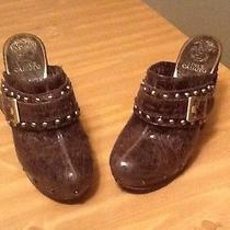 Vince Camuto Christies Distressed Brown Gold Clog Mule Booties Size 10 B Photo
