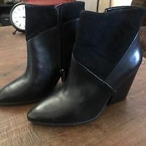 Vince Camuto Ciera Black Leather and Suede Ankle Closed Toe Booties Women Size 8 Photo