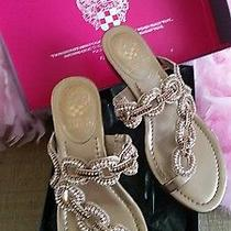 Vince Camuto Copper Metallic Jeweled Wedge Rhinestone Gorgeous Spring Shoes  7m Photo