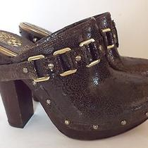 Vince Camuto Cover Brown Distressed Leather High Heel Platform Clogs Sz 8 New Photo