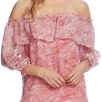 Vince Camuto Distressed Paisley Off the Shoulder Blouse Nwt Coral Blossom Sz 2x Photo