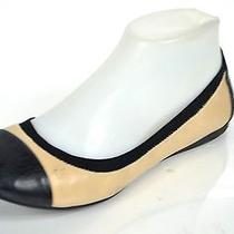 Vince Camuto 'Elisee' Black/nude Leather Ballet Flat Size 7.5m Photo