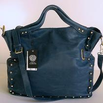 Vince Camuto Estate Blue Leather Bolts Tote & Shoulder Handbag 298 Photo