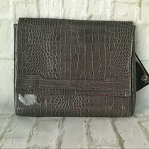 Vince Camuto - Faux Croc Leather - Handbag Clutch Purse - Gray & Pink - New Photo