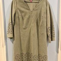 Vince Camuto  Faux Suede Laser-Cut Long Sleeve Dress  Mint Green  0 Photo
