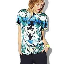 Vince Camuto Garland Blue Green Satin Floral Short Sleeve Blouse Top Small S New Photo