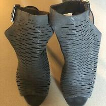 Vince Camuto Gray Buckle Peep Toe Heels Size 8 Photo