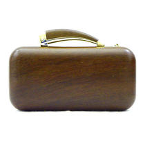 Vince Camuto Horn Clutch Dark Wood Photo