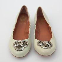 Vince Camuto Jeweled Toe Cream Leather Flats Sz 38/8 Photo