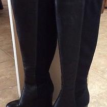 Vince Camuto Kaelen  Black Leather & Stretch Wedge Over the Knee Boots Size 8.5 Photo