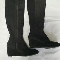 Vince Camuto Knee High Suede Leather Boots Brown Wedge Heel Size 8.5m Photo