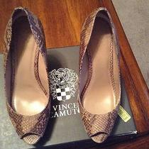 Vince Camuto Ladell Open Toe Glitter Snake Skin Cork Wedge Heel Sz 7.5m Photo