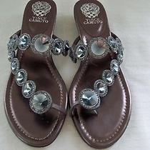 Vince Camuto Ladies 10 B Sandals Metallic Bronze W Rhinestones Gently Worn  Photo