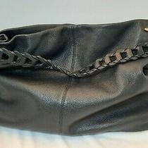 Vince Camuto Large Black Soft Sloughy Pebbled Leather Handbag Interior Exlnt  Photo