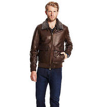 Vince Camuto Leather Aviator Bomber Jacket With Shearling Collar Size M  Photo