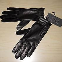 Vince Camuto Leather Gloves With Zippers Black Size S Small Photo