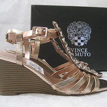 Vince Camuto Leather Rose Gold Strappy Wedge Shoes Size 7 1/2 W - New W Box Photo