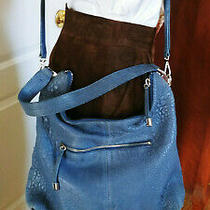 Vince Camuto Lge Grain Sky Blue Leather Crossbody Handbag Clutch Purse Bag Photo