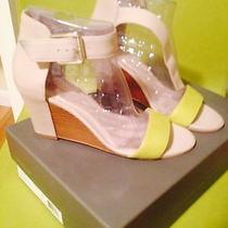 Vince Camuto Luciah Wedge Sandals Leather Drizzle Gray/citronelle(lime) 8.5 M Photo