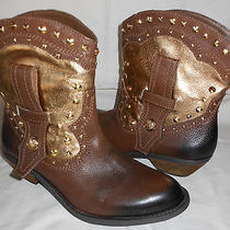Vince Camuto Madalissa Brown and Gold Leather Western Cowboy Ankle Boots 6 B Photo